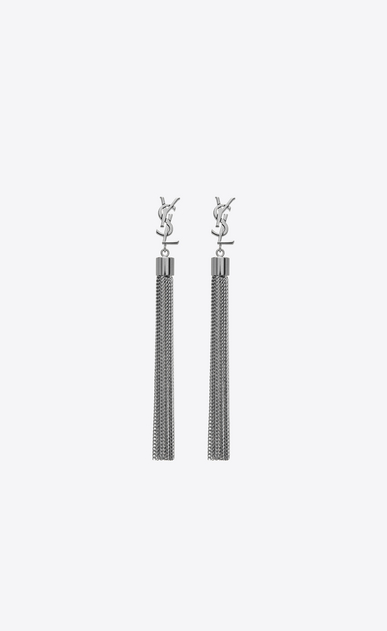 SAINT LAURENT Earrings D monogram mini tassel earrings in gunmetal brass a_V4