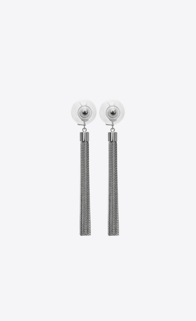 SAINT LAURENT Earrings D monogram mini tassel earrings in gunmetal brass b_V4