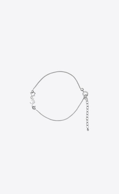 SAINT LAURENT Bracelets Woman monogram charm bracelet in silver brass a_V4
