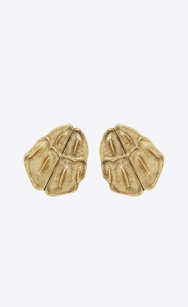 SAINT LAURENT Earrings Woman opyum crocodile earrings in gold brass a_V4