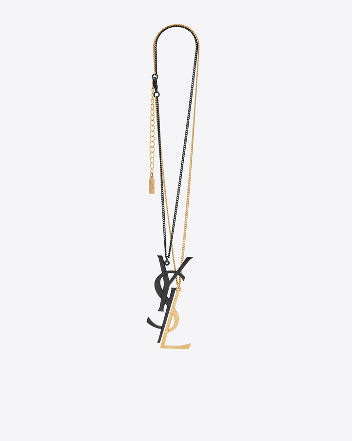 saint laurent monogram deconstructed pendant necklace in black and gold brass