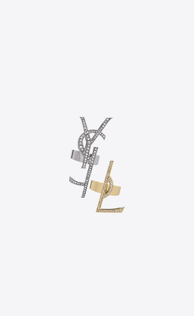 SAINT LAURENT Rings Woman set of deconstructed rings in gunmetal, gold brass and clear crystal a_V4