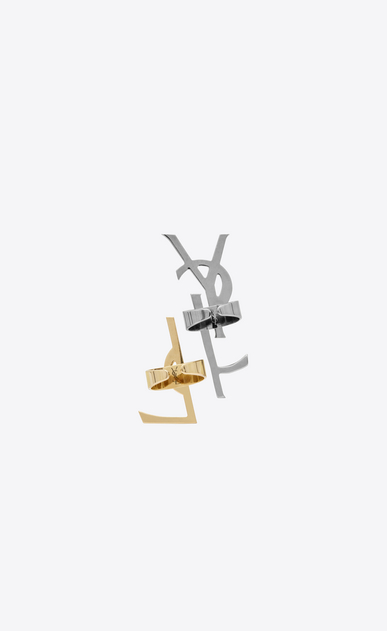 SAINT LAURENT Rings D monogram set of deconstructed rings in gunmetal, gold brass and clear crystal b_V4