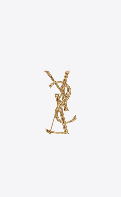 SAINT LAURENT Brooch Damen OPYUM YSL Brosche mit Krokostruktur in Gold b_V4