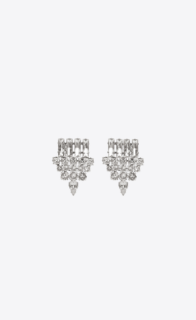 SAINT LAURENT Earrings Woman smoking earrings in silver brass and clear crystal a_V4