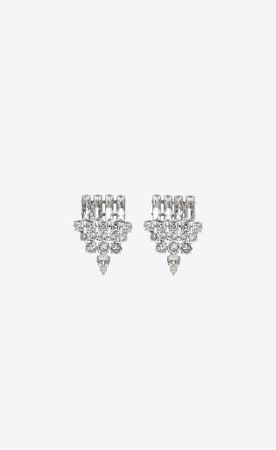 SAINT LAURENT Orecchini D orecchini smoking color argento in ottone e cristallo trasparente v4