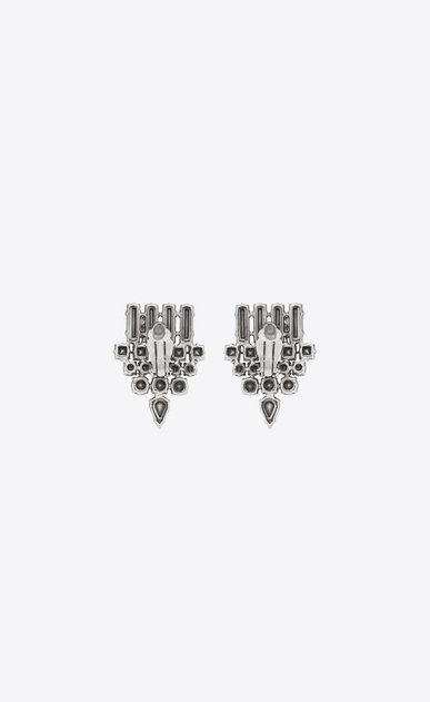 SAINT LAURENT Earrings Woman smoking earrings in silver brass and clear crystal b_V4