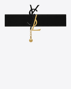 SAINT LAURENT Short Necklaces D MONOGRAM Choker in Black, Gunmetal and Gold f