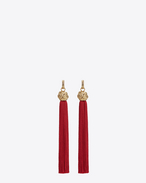 SAINT LAURENT Earrings D loulou tassel earrings in gold and red viscose f