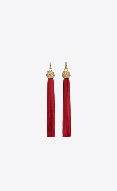 SAINT LAURENT Earrings D loulou tassel earrings in gold and red viscose a_V4