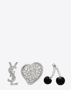SAINT LAURENT Brooch D SMOKING Brooch Set in Silver, Black and Clear f
