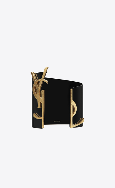 SAINT LAURENT Bracelets D monogram cuff in black and gold steel a_V4