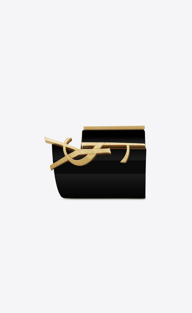 SAINT LAURENT Bracelets D monogram cuff in black and gold steel b_V4