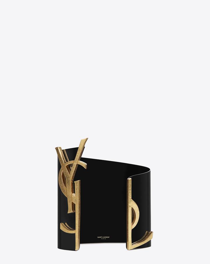 saint laurent monogram cuff in black and gold steel