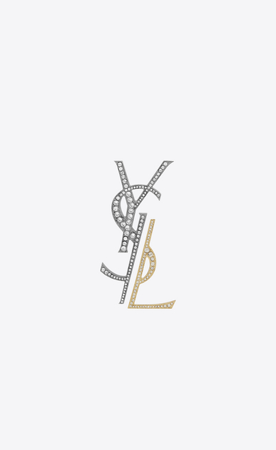SAINT LAURENT Brooch D monogram deconstructed brooch in gunmetal, gold brass and clear crystal a_V4