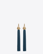 SAINT LAURENT Earrings D loulou tassel earrings in gold and petroleum viscose f