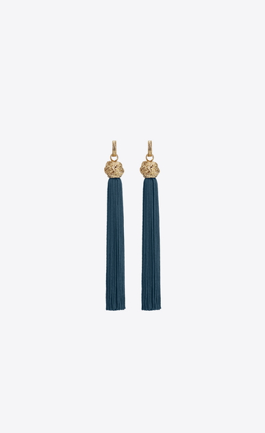 SAINT LAURENT Earrings D loulou tassel earrings in gold and petroleum viscose a_V4