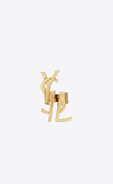 SAINT LAURENT Rings D monogram deconstructed ring in old gold brass v4