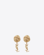 monogram brandebourg earrings in gold brass