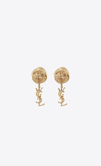 SAINT LAURENT Earrings D monogram brandebourg earrings in gold brass v4