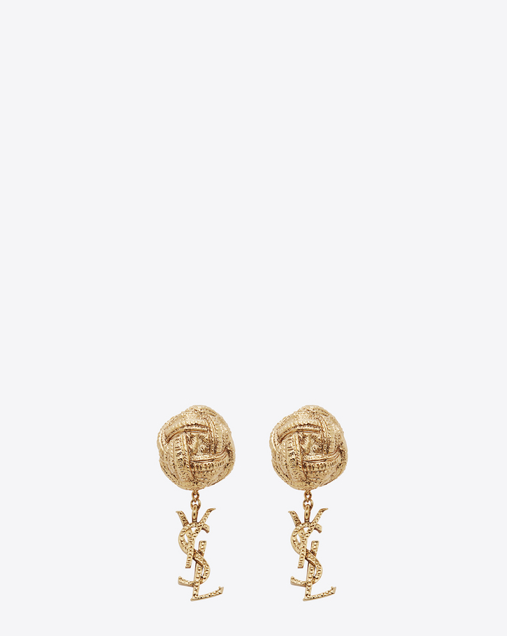 saint laurent monogram brandebourg earrings in gold brass