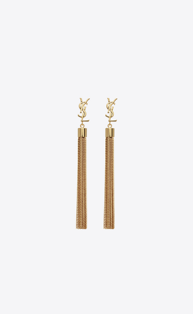 SAINT LAURENT Earrings D monogram mini tassel earrings in gold brass a_V4