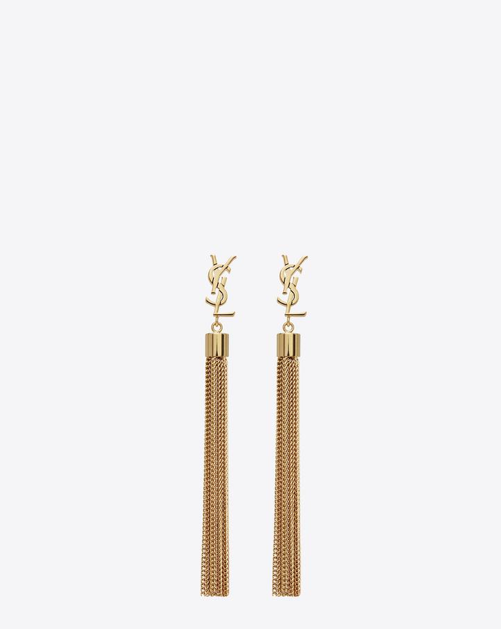 saint laurent monogram mini tassel earrings in gold brass