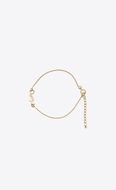SAINT LAURENT Bracelets Woman monogram charm bracelet in gold brass a_V4