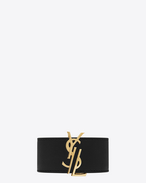 SAINT LAURENT Bracelets D bracciale monogram de force color oro in metallo e nero in pelle f