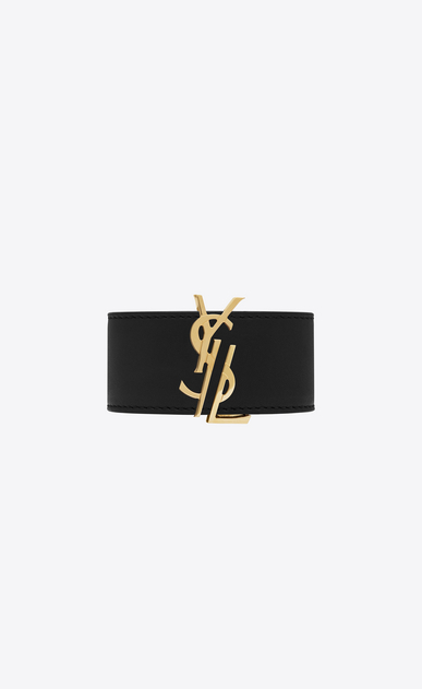 SAINT LAURENT Bracelets Woman de force bracelet in gold metal and black leather a_V4