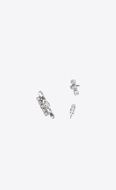 SAINT LAURENT Earrings Woman SMOKING Set of Earrings in Silver-Toned Brass and Clear Crystal a_V4