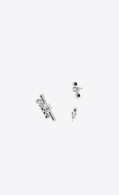 SAINT LAURENT Earrings Woman SMOKING Set of Earrings in Silver-Toned Brass and Clear Crystal b_V4