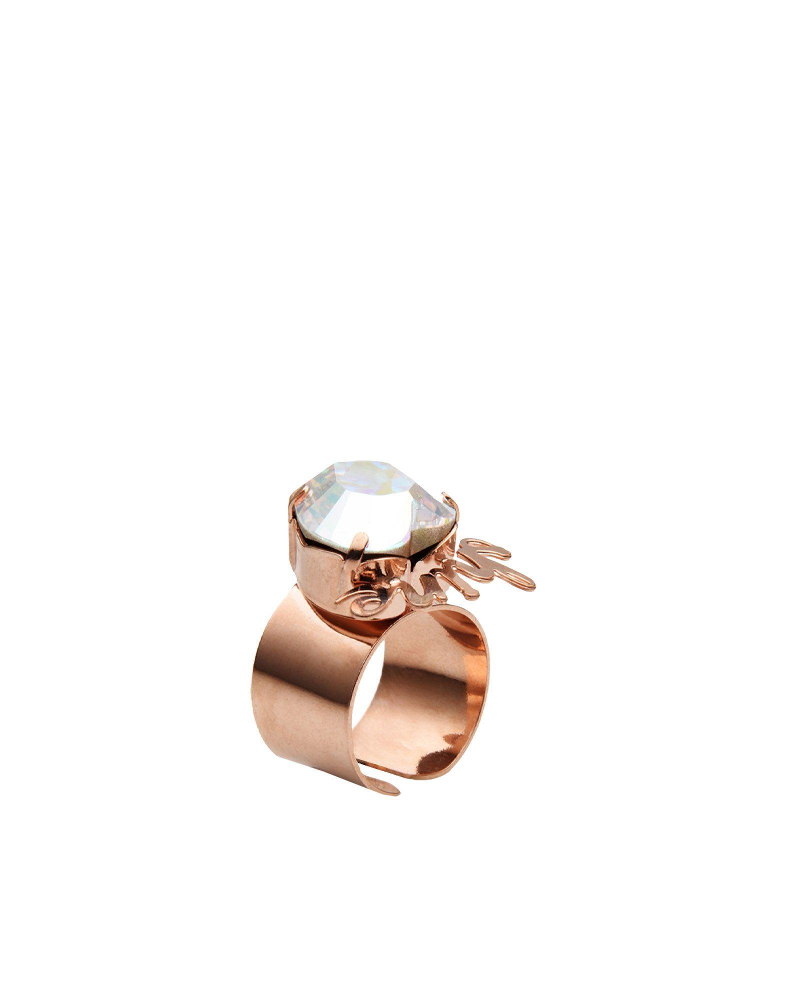 《セール開催中》FIRST PEOPLE FIRST レディース 指輪 クリア one size 真鍮/ブラス / クリスタル ANELLO WORDS LOVE & SHINE