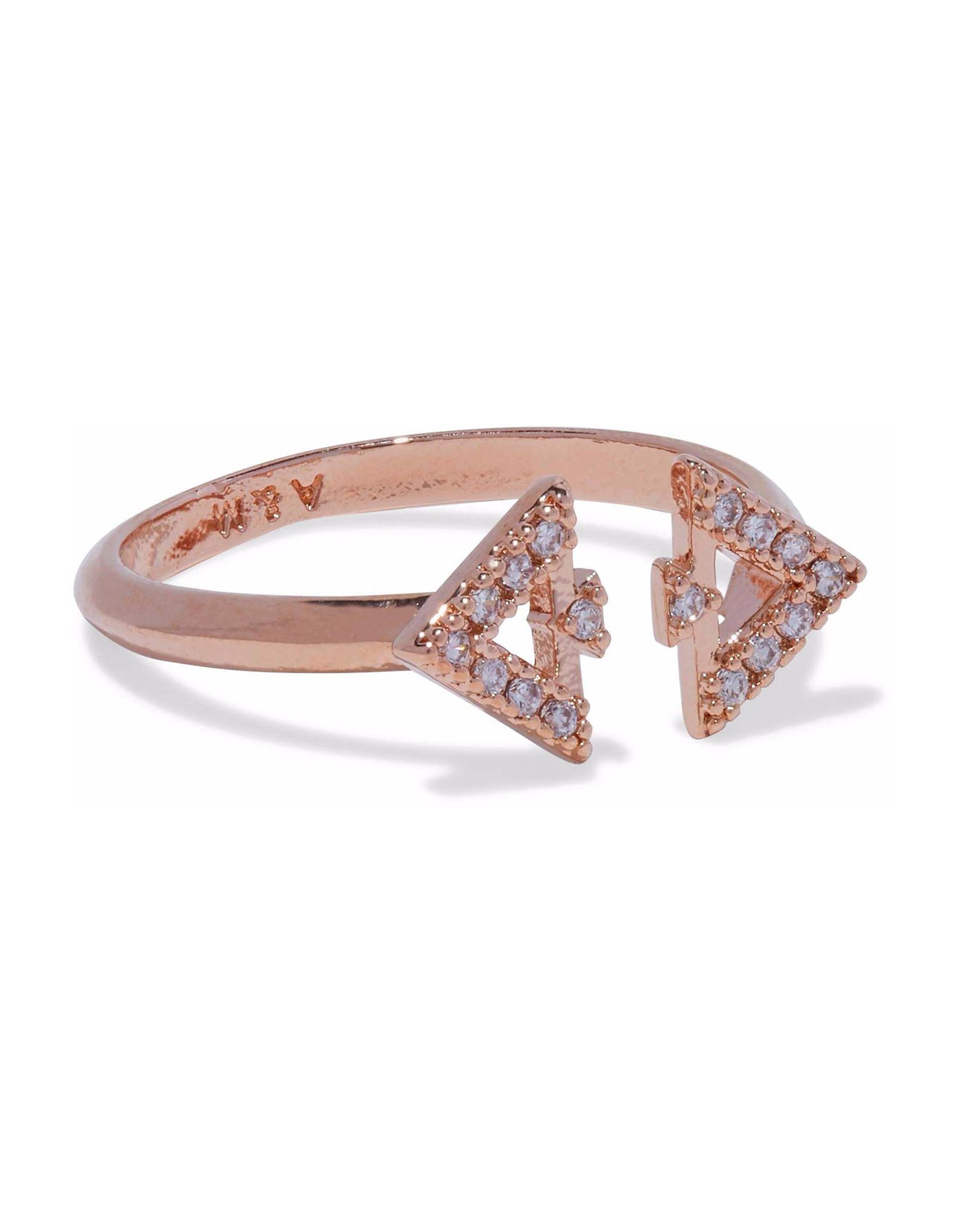 《セール開催中》ASTRID & MIYU レディース 指輪 カッパー one size 真鍮/ブラス / ジルコン FITZGERALD TRIANGLE RING