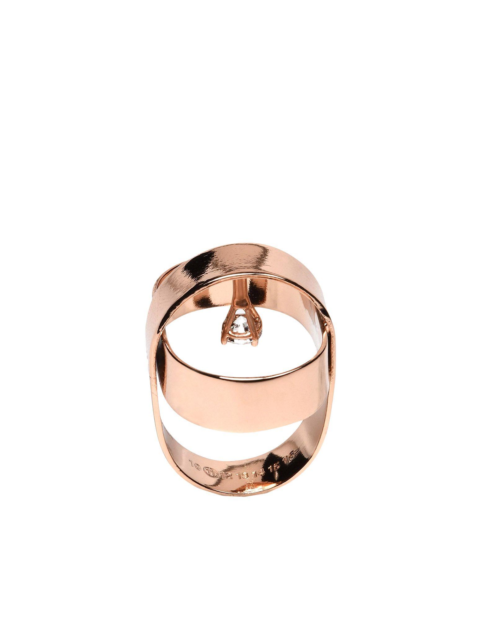 《セール開催中》MAISON MARGIELA レディース 指輪 カッパー S 100% 真鍮/ブラス キュービックジルコニア