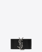 SAINT LAURENT Bracelets D MONOGRAM DE FORCE Bracelet in Black Leather and Oxidized Nickel Metal f