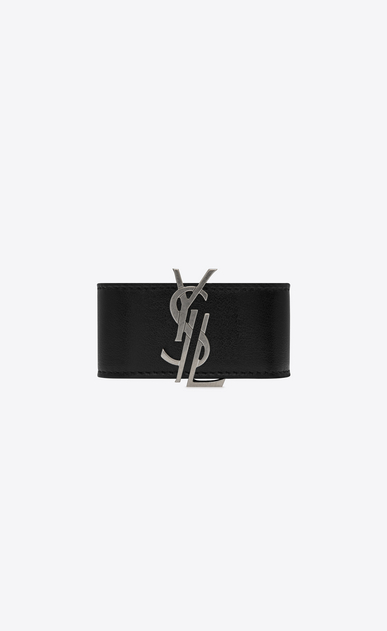 SAINT LAURENT Bracelets D MONOGRAM DE FORCE Bracelet in Black Leather and Oxidized Nickel Metal a_V4