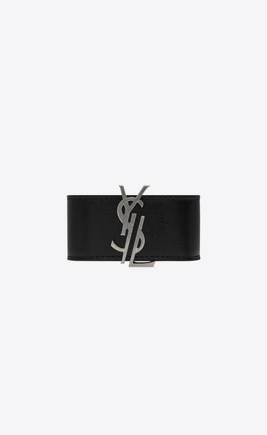SAINT LAURENT Bracelets D MONOGRAM DE FORCE Bracelet in Black Leather and Oxidized Nickel Metal v4