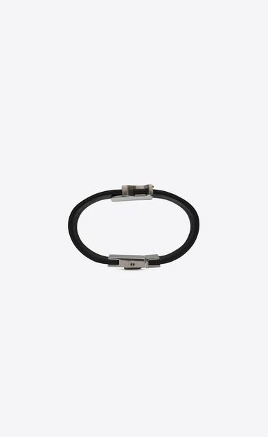SAINT LAURENT Bracelets Woman de force bracelet in black leather and oxidized nickel metal b_V4