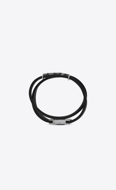 SAINT LAURENT Leather Bracelets D YSL Double Wrap Bracelet in Black Leather and Brushed Silver-Toned Metal b_V4