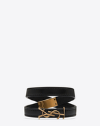 SAINT LAURENT Leather Bracelets D YSL Double Wrap Bracelet in Black Leather and Light Bronze-Toned Metal f