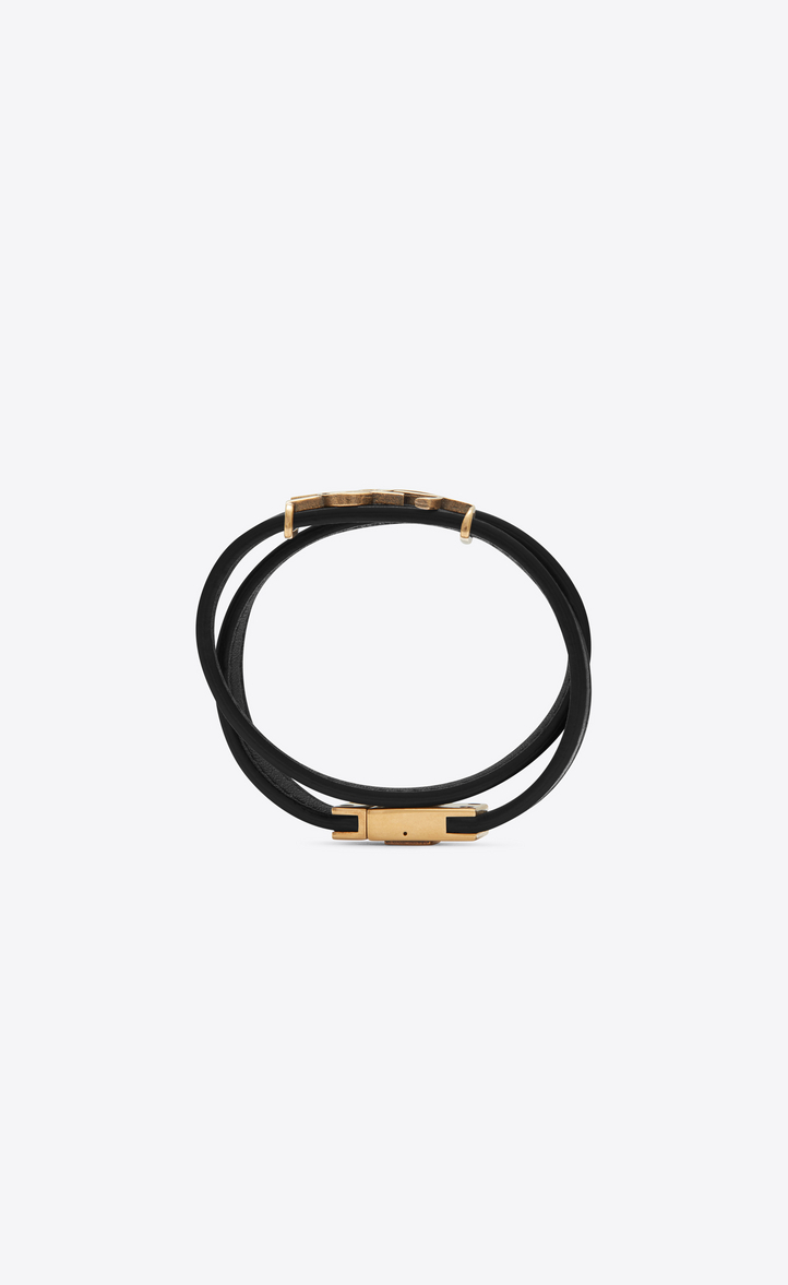 Zoom Ysl Double Wrap Bracelet In Black Leather And Light Bronze Toned Metal Rear View
