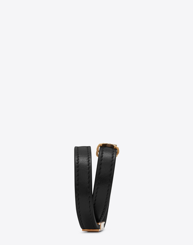 d430438650 Ysl Double Wrap Bracelet In Black Leather And Light Bronze-Toned Metal
