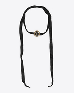 SAINT LAURENT Short Necklaces D ARMY Braided Choker in Gold Tin and Brass and Black Enamel and Silk f