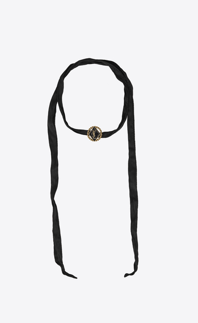 SAINT LAURENT Short Necklaces D ARMY Braided Choker in Gold Tin and Brass and Black Enamel and Silk a_V4