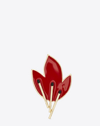 SAINT LAURENT Brooch D FLAME Brooch in Gold-Toned Brass and Red and Black Enamel f