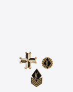 SAINT LAURENT Brooch D ARMY Pins Set in Gold-Toned Metal and Black and White Enamel f