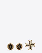 SAINT LAURENT Earrings D ARMY Earring Set in Gold-Toned Metal and Black and White Enamel f