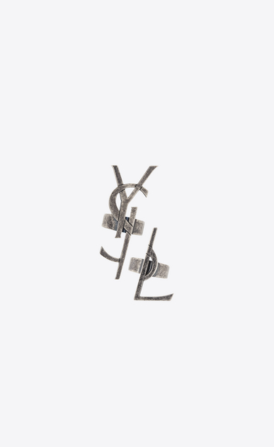 SAINT LAURENT Rings D MONOGRAM Set of Deconstructed Rings in Old Silver-Toned Metal v4
