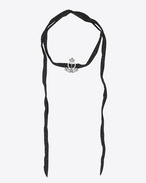 SAINT LAURENT Short Necklaces D ARMY Crown Choker in Silver-Toned Metal, Clear Crystal and Black Silk f